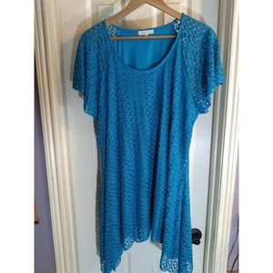 Indigo Soul Top Teal Open Lace Lined  Sz 2XL